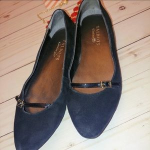 Talbots velvet flats with patent leather buckle